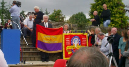 IBMT and Connolly Column banners in the graveyard.
