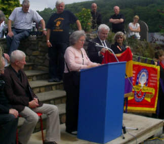 Marlene Sideaway (of the IBMT) reading the famous speech on the leaving of the Brigadiers.